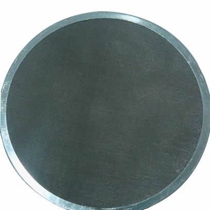 A screen gasket with round metallic gasket ring, and dense - small hole mesh.