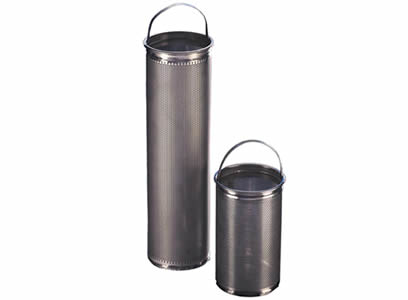 Two basket filters in different height, and they have stainless steel perforated plate as outer layer and a lifting handle.