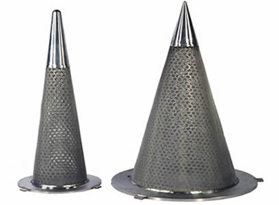 Two different cone filters having inner perforated metal layer and wire mesh outer layer, the top is stainless steel.